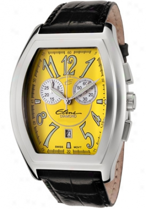 Elini New Yorker Grand Chronograph Yellow Dial Black Leather Ye12535abk/1