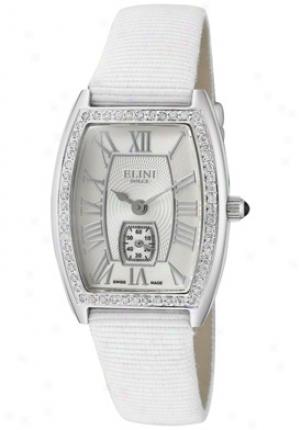 Elini Women's Dolce White Diamond (0.40 Cwt) Silver Guilloche Dial White Grosgrain Ww22348tsgglg