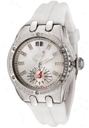 Elini oWmen's Genesis Dual Time White Diamond White Silicon Wh2747twh