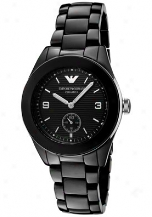 Emporio Armani Men's Black Textured Dial Black Ceramic Ar1422