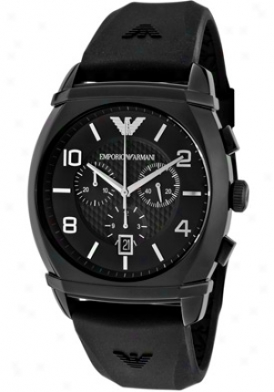 Emporio Armani Men's Classic Chronograph Black Textured Dial Black Silicon Ar0349