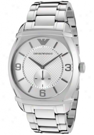 Emporio Armani Men's Classic Silver Textured Dial Stainless Steel Ar0339