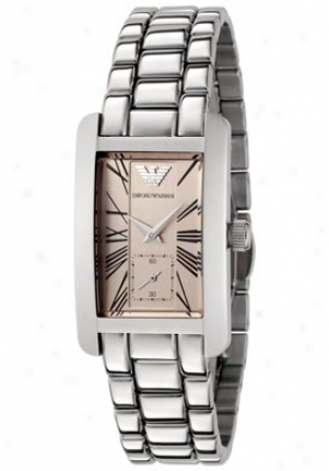 Emporio Armani Men's Light Rose Dial Stainless Steel Ar0176