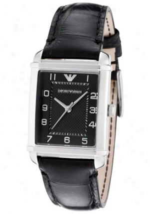 Emporio Armani Women's Classic Black Textured Dial Black Embosssed Genuine Leather Ar8020