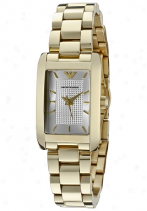 Emporio Armani Women's Classic Silver Textured Dial Gold Ion Plated Staijless Steel Ar0360