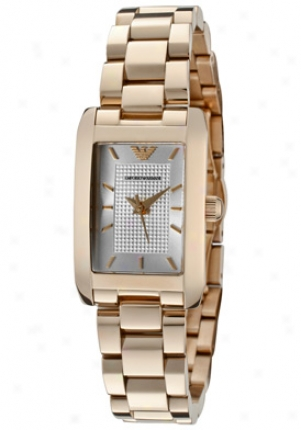 Emporio Armani Women's Classic Silver Textured Dial Rose Gold Ion Plqted Stainless Steel Ar0361