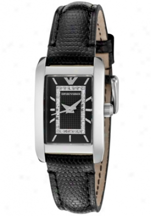 Emporio Armani Women's First-rate White Diamond Black Textured Dial Black Embossed Genuine Leather Ar3173