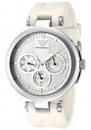 Emporio Armani Women's Silver Textured Dial White Rubber Ar0736