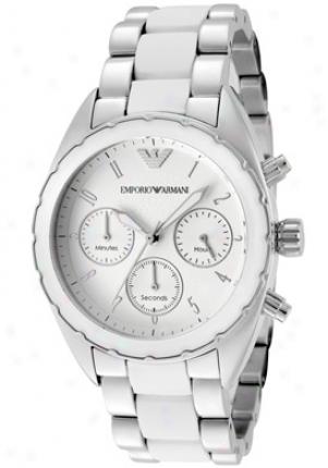 Emporio Armani Women's Sportivo Chronograph White Dial Stainless Steel & White Silicon Ar5940