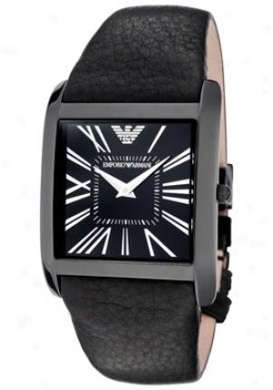Emporio Armani Women's Super Slim Black Dial Black Leather Ar2027