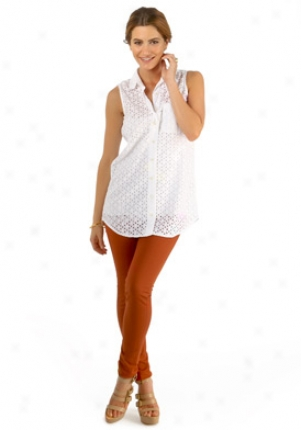 Equipment White Floral Perforated Top Wtp-e80-e211-white-m