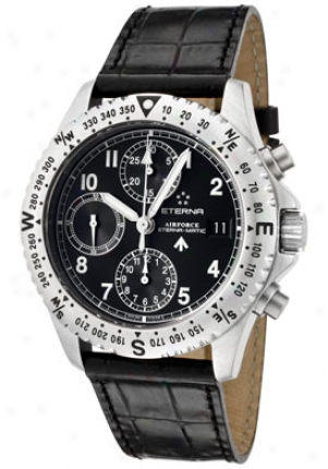 Eterna Men's Airforce Automatic Chronograph Blacl Dial Black Alligator 8418.41.40.1106-bs