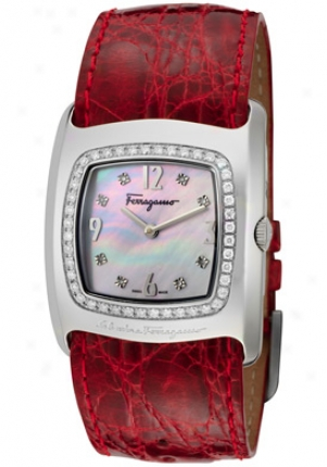 Ferragamo Women's Vara White Diamond White Mop Dial Red Crocodile F51sbq9191is800