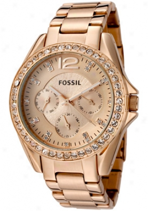 Fossil Women's Riley White Crystal Rose Dial Rose Gold Accent Ion Plate Stainless Steel Es2811