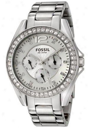 Fossil Women' siley White Crystal Stainless Steel Es2203