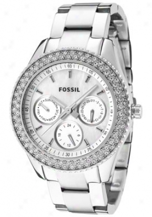 Fossil Women's Stella White Crystal White Mother Of Pearl Stainless Steel Es2860
