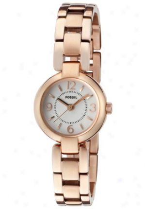 Fossil Women's White Dial Rose Gold Stainlesq Steel Es2742