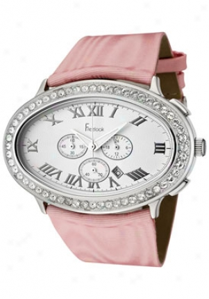Freelook Women's Chronograph Swaorvski Crystal Pink Fabric Ha8160ch-5