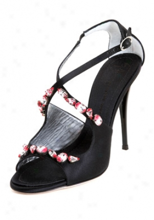 Giuseppe Zanotti Black Satin High Heel Sandals E90087003-bk37