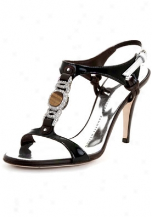Giuseppe Zanotti Brown And Black Leather Sandals With Stone Embellishment I80103-001-bbrn-37