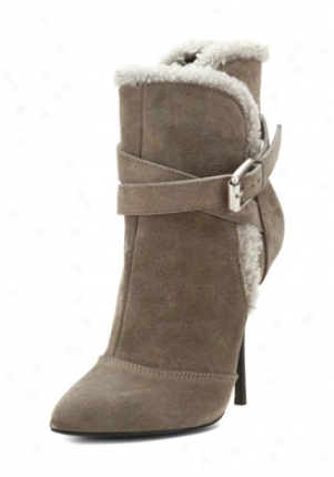 Giuseppe Zanotti Grey Suede Shearling Stiletto Bootie I17081-dirty120-g36