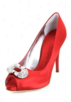 Giuseppe Zanotti Red Satin Peep Toe Pumps I96140-red-39
