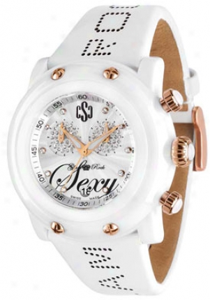 Glm Rock Women's Crazy Sexy Cool Chronograph White Diamond White Calf Leather Gr61100