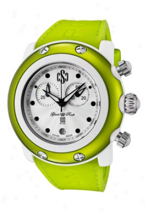 Glam Rock Women's Crazy Sexy Cool Chronograph White Guilloche Dial Green Silicoon Gr62106-nco