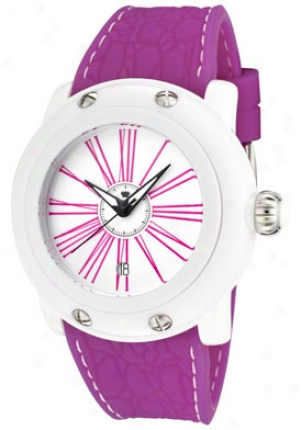 Glam Rock Women's Miami Beach White Dial Fuschia Silicon Gk1002