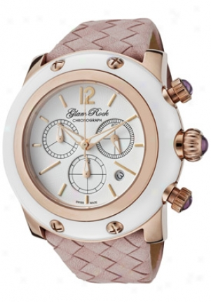Glam Rock Women's Miami Chronograph White Dial Light Pink Woven Lamb Leather Gr10169