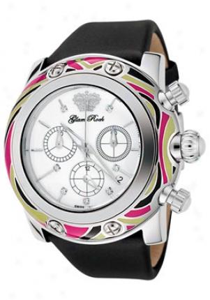 Glam Rock Women's Miami Chronograph White Diamond Dismal Techno Silk Gr10512-blk