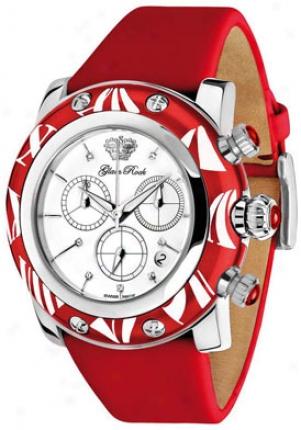 Glam Rock Women&#039s; Miiami Chronograph White Diamond Red Techno Silk Gr10514
