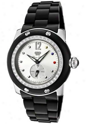 Glam Rock Women's Miami White Diamond (0.56 Ctw) Silver Dial Black Composite Grd10700bv