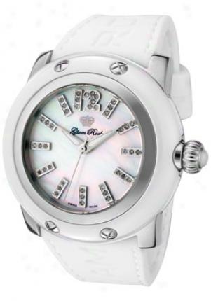 Glam Defence Women's Miami White Diamond White Mop Dial White Rubber Grd30018-rb