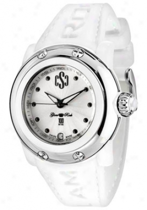 Glam Rock Women's Miss Miami Beach Silver Guilloche Dial White Silicon Gr64003
