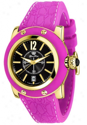 Glam Rock Women's Palm Beach Black Dial Purple Silicon (s) Gr40305ppf