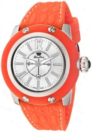 Glam Lull Women's Palm Beach Silver Dial Orange Silicon (s) Gr40309oof