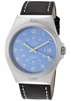 Glycine Men's Combat Iguana Blue Dial Black Genuine Leather 3854-18-lb9