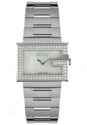 Gucci Women's 100 Seriies Diamond Stainless Steel Ya100510