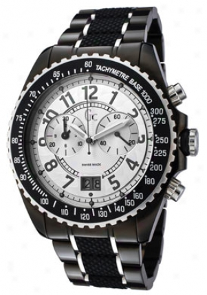 Guess Women's Chronograph Silver Dial Two Toneand Black Rubber 46001g