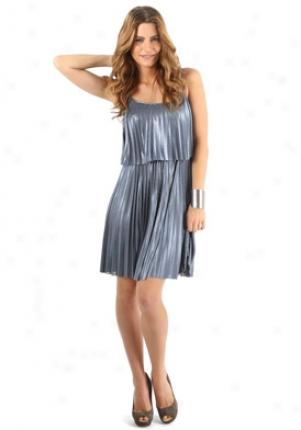 Halston Heritag ePleatedM etallic Blue Dress Dr-hrp1-1-jl281-bl-0