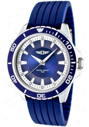I By Invicta Men's Bleu Dial Blue Textured Silicon 43891-002