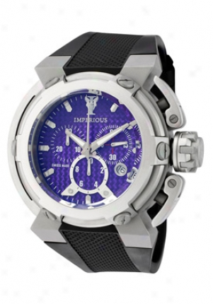 Imperious Men's X-wing Chronograph Purple Carbon Fiber Dial Black Polyurethane Imp1045