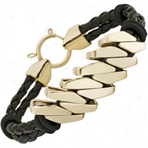 Invicta Elements Black Woven Leather & 18k Gold Plated Bracelet 5967