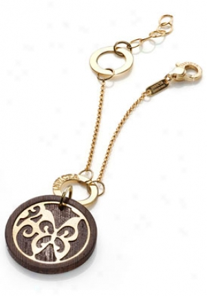Invicta Jewels Paradiso 24k Yellow Gold-plated With Wood Charm Bracelrt J0079