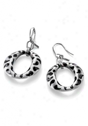 Invicta Jewelry Women's Divina Silver Rhodium Plating & Black Enamel Earrings J0031