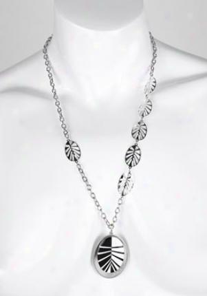 Invicta Jewelry Women's Luce Silcer 925 Black & White Optical Stone Pendant Necklace J0040