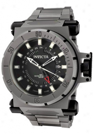 Invicta Men's Coalition Force Gmt Black Dial Grey Titanium 6494
