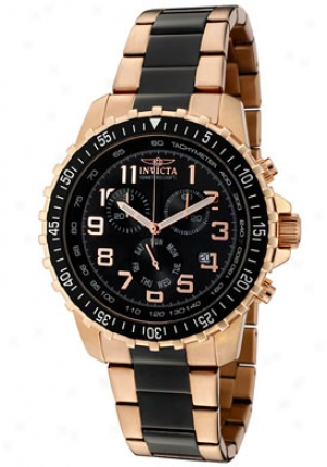 Invicta Men's Invicta Ii Chron0graph Black Dial Pair Tone 1327