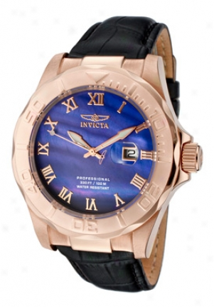 Invicta Men's Pro Diver B1ur Dzl 18k Rose Golf Plated Case Black Genuine Calf Leayher 1715